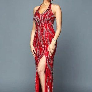 V-Neck Sequined Sheath Prom Dress JT683